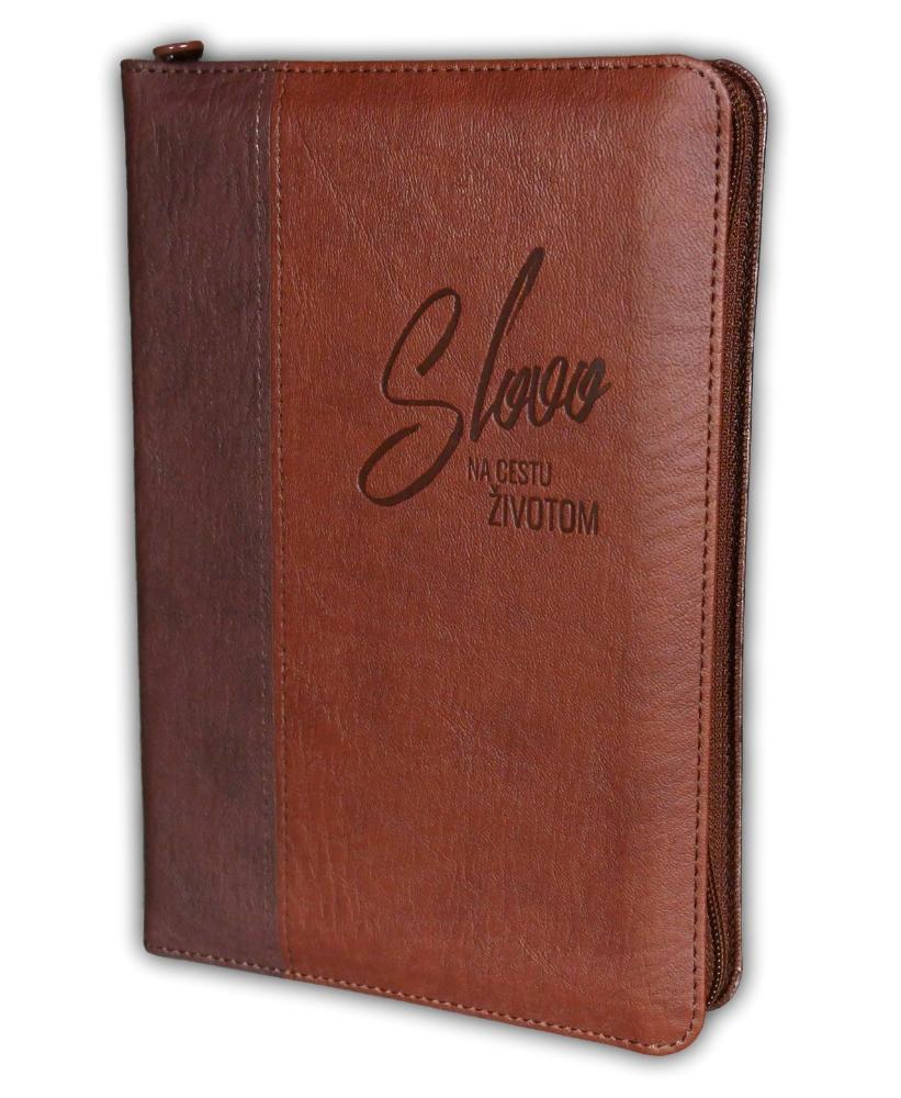 Biblia, ekumenický preklad, edícia SLOVO, 2020, hnedá, dvojfarebná, so zipsom, s indexmi