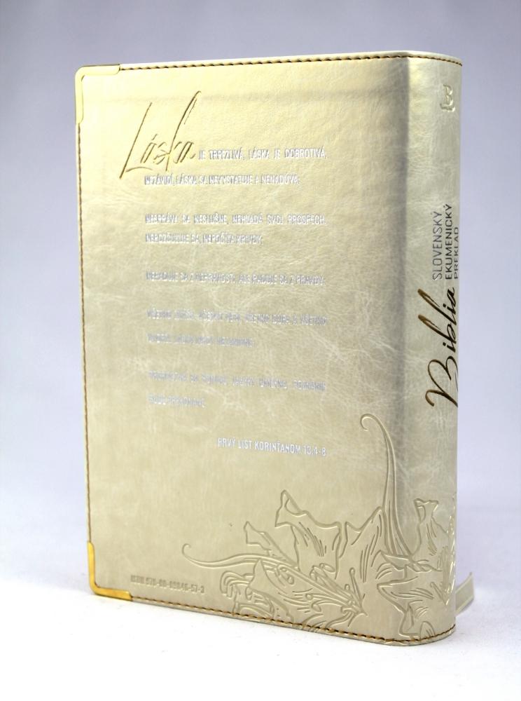 Svadobná Biblia, ekumenický preklad, edícia SLOVO, 2020, biela s kvetom, s DT