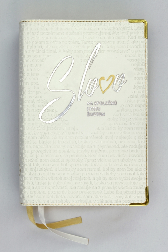 Svadobná Biblia, ekumenický preklad, edícia SLOVO, 2020, biela so srdcom, s DT